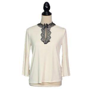 TAHARI Ivory Blouse Black Lace Neckline Sz XS